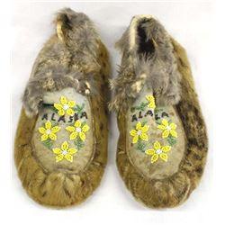 Antique Alaskan Eskimo Leopard Seal Fur Moccasins