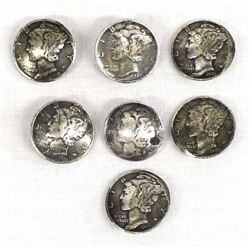7 Navajo Mercury Dime Buttons
