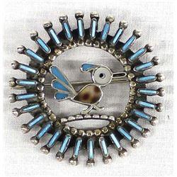 Zuni Sterling Needlepoint Turquoise Pin