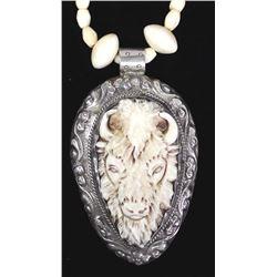 Carved Bone Buffalo Pendant Necklace