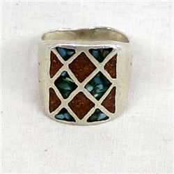 Vintage Navajo Sterling & Chip Inlay Ring, Size 9