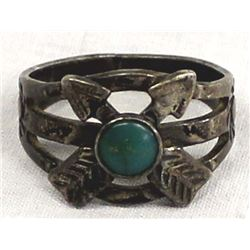 Vintage Navajo Route 66 Sterling Turquoise Ring