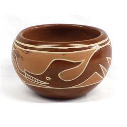 Historic Santa Clara Pottery Avanyu Bowl