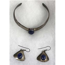 Zuni Cochiti Sterling Lapis Bracelet and Earrings
