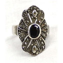 Sterling Garnet and Marcasite Ring, Size 6.75