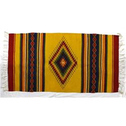 Colorful Zapotec Wool Textile Fringed Rug