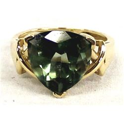 14K Gold Faceted Green Tourmaline Ring, Sz 6.5