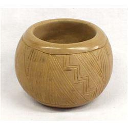San Juan Carved Pottery Bowl by Tomasita Montoya