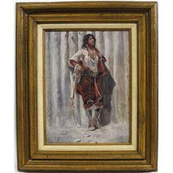 Native American Oak Framed Matted Print