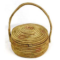Antique Alaskan Lidded Sewing Basket