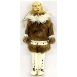 Alaskan Quinhagak Leather and Fur Doll by E White