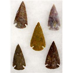 5 Stone Arrowheads, Age & Origin Unknown