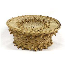 Vintage Native American Penobscot Lidded Basket