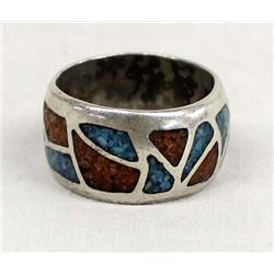 Vintage Native American Sterling Chip Inlay Ring
