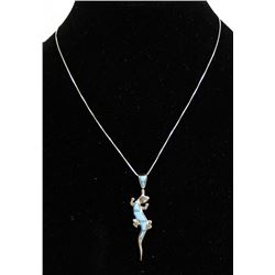 Native American Sterling Inlay Lizard Necklace
