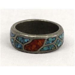 Native American Sterling Chip Inlay Ring, Sz 10.5