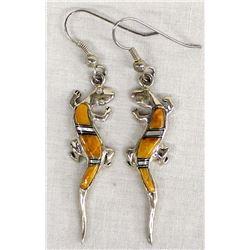 Native American Sterling Inlay Lizard Earrings
