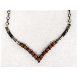 Vintage Navajo Sterling Coral Necklace by Guerro