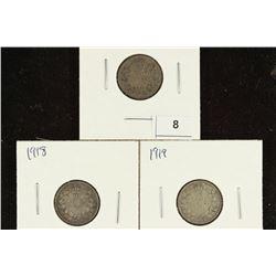 1917,1918 & 1919 CANADA SILVER 10 CENTS