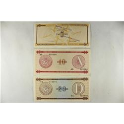 CUBA 5,10 & 20 PESOS FOREIGN EXCHANGE CERTIFICATES