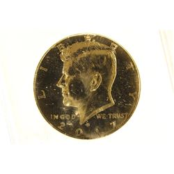 2017 KENNEDY HALF DOLLAR 24KT GOLD ENRICHED