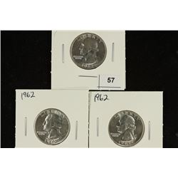 3-1962 WASHINGTON SILVER QUARTERS BRILLIANT UNC