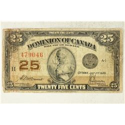 1923 DOMINION OF CANADA 25 CENT FRACTIONAL