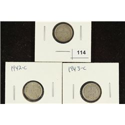 1941-C,1942-C & 1943-C NEWFOUNDLAND SILVER 5 CENTS