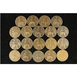 19 ASSORTED 1896-1918 GREAT BRITAIN LARGE PENNIES