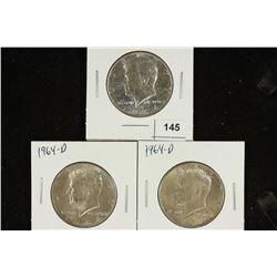1964 & 2-1964-D 90% SILVER KENNEDY HALF DOLLARS