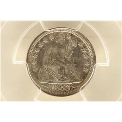 1853 SEATED LIBERTY DIME WITH ARROWS PCGS AU55