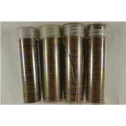 4-SOLID DATE ROLLS OF CANADA 1 CENTS 1940, 1947,
