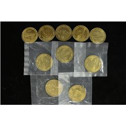 10 ASSORTED 1 1/4'' BRASS TOKENS PRESIDENTIAL