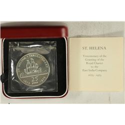 1973 ST. HELENA 25 PENCE STERLING SILVER PROOF
