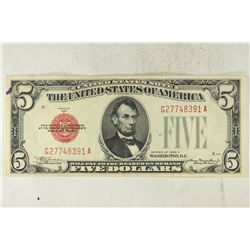 1928-C $5 US RED SEAL NOTE