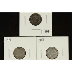 1913, 1914 & 1918 CANADA SILVER 10 CENTS