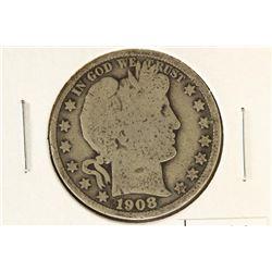 1908 BARBER HALF DOLLAR