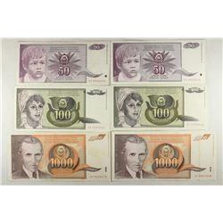 YUGOSLAVIA 2-1990-50 DINARAS, 2-1991-100 DINARAS &