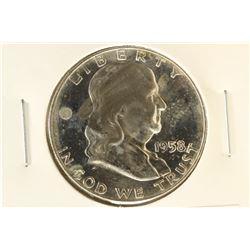 1958-D FRANKLIN HALF DOLLAR BRILLIANT UNC TONED