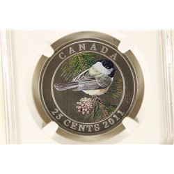 "2011 CANADA 25 CENT BIRDS OF CANADA ""BLACK CAPPED"
