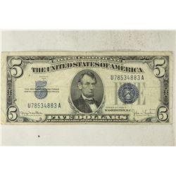 1934-D $5 SILVER CERTIFICATE BLUE SEAL