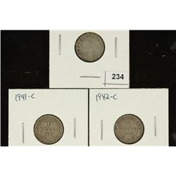 1912, 1941-C & 1942-C NEWFOUNDLAND SILVER 10 CENTS