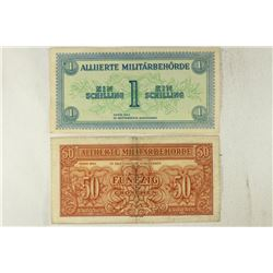 2-1944 AUSTRIA OCCUPATION NOTES 1 SCHILLING AND