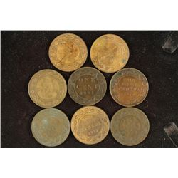 8 ASSORTED 1901-1919 CANADA LARGE CENTS