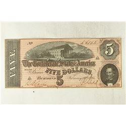 1864 CONFEDERATE STATES OF AMERICA $5 UNC