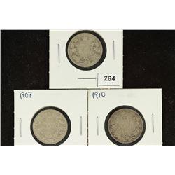 1903, 1907 & 1910 CANADA SILVER 25 CENTS