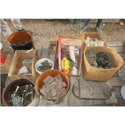 Pail of Tractror Wheel Weights, Nuts & Bolts