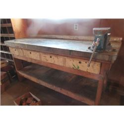"Shop Work Bench W Vice 29""H 72""W 24""D"