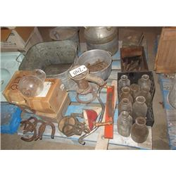 Cream Can, Galvanized Tub, Railway Spikes, Milk Bottles, & Horse Shoe
