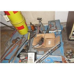 Battery Charger, Air Tools, Mitre Saw, & Pipe Wrenches